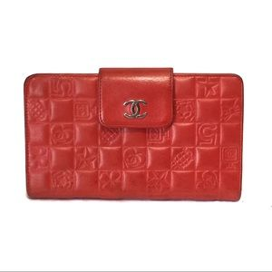 CHANEL red charms wallet clutch